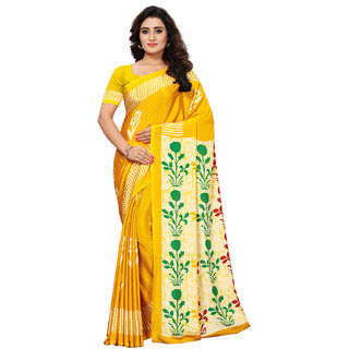 Swaron Yellow Crepe Printed Saree