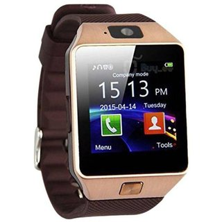 DZ09 Bluetooth Smart Android Watch with Camera, SIM and Memory Card -Golden