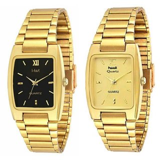HWT Rectangle Black And Golden Dail Gold Metal Watches Combo Pack Of 2 Pcs For Men