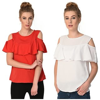 642ea8c460e044 Buy Code Yellow Women s Red White Ruffled Cold Shoulder Top Pack of ...