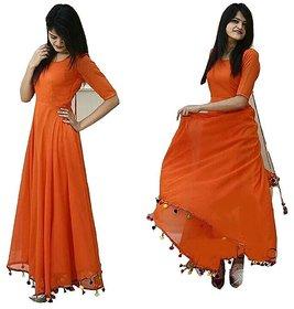 Raabta Fashion Orange long Dress with Pom Pom Border