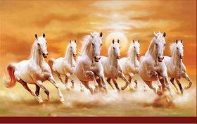 7 Horse in Right Direction Paper Painting as per Vastu Without Frame (Multicolor, Pack of 1)