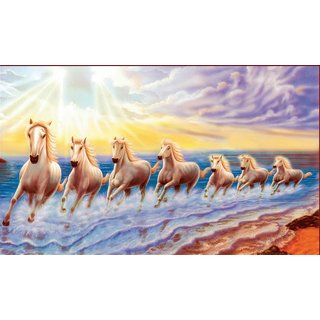 Vastu Nano Posterwhite 7 horse running sticker poster (Right to Left)