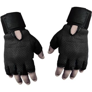 JMO27Deals HEAVY LEATHER PADDING  Gym  Fitness Gloves (Free Size, Black)