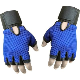 JMO27Deals Netted with Wrist Support Gym  Fitness Gloves (Free Size, Blue)