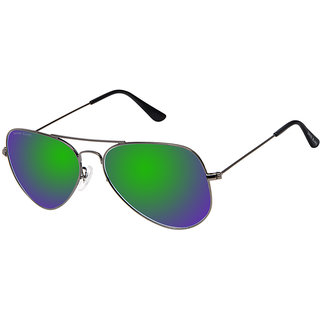 David Blake Green Aviator UV Protection Mirrored Sunglass