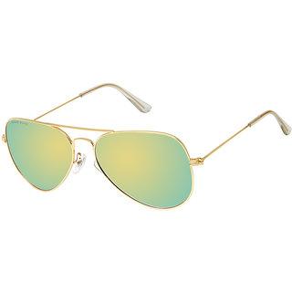 David Blake Gold Aviator UV Protection Mirrored Sunglass