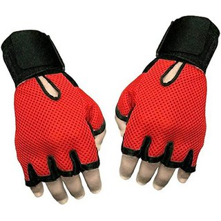 JMO27Deals Netted Wrist Support Gym  Fitness Gloves Gym  Fitness Gloves (Free Size, Orange)