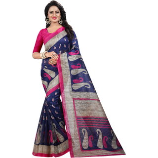 b0f7705a95e4d2 Buy Indian Beauty Women s Blue Printed Art Silk With Blouse Saree ...