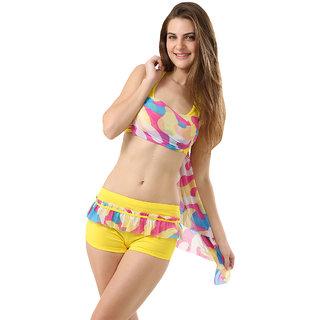 Trendy And Elegant Multi  Stylish 3-Piece Bikini Set With Incredible Wrap