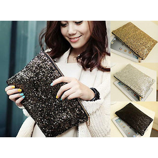 Both side Sequin Bling Clutch Party Bag Purse for Women Girls Western Dress Suit
