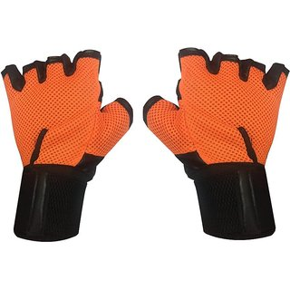 JMO27Deals Leather  Netted with Wrist Support Gym  Fitness Gloves (Free Size, Orange)