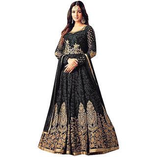 FFashion womens Embroidered Georgette Black Colour Gown Material(Maisha 4705-black)