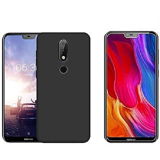 più recente bf28b 80776 Nokia 6.1Plus back cover Black Flexible cover with tempered glass 0.33mm  2.5D glass by Mascot max