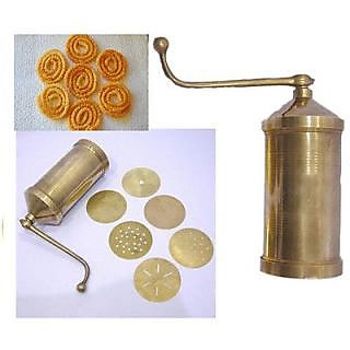 Martand Brass Sev, Sancha, Bhujia, Farsan Maker With 6 Different Type Attachment