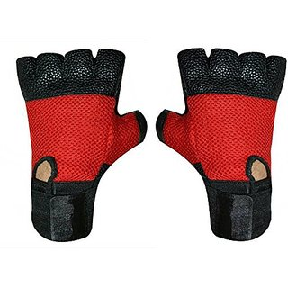 Jmo27Deals Genuine Leather Netted Gym  Fitness Gloves with Wrist Support (Free Size, Red)