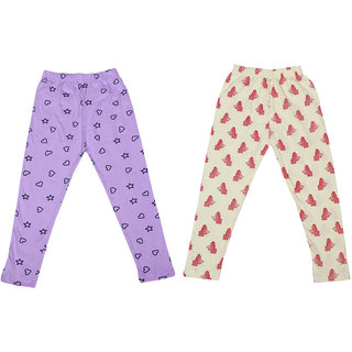 IndiWeaves Girls Super Soft and Stylish Cotton Printed Leggings(Pack of 2)