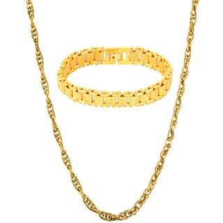 Gold Plated Gold Color Designer Daily wear 1 Chain 1 Bracelet for Men by GoldNera