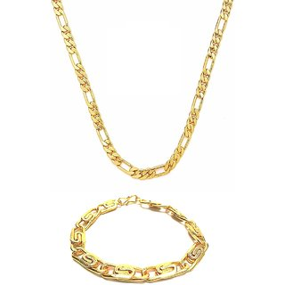 Gold Plated Popular Sachin Chain with Gold Plated Adjustable Bracelet by GoldNera