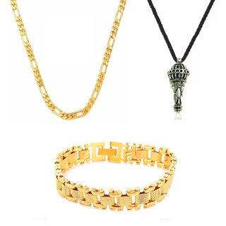 Gold Plated Gold Color Designer Daily wear 1 Chain 1 Bracelet And 1 Pendant for Men by GoldNera
