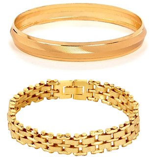 GoldNera Best Selling Alloy Yellow Gold Plated Bracelet And Kada for Men/ Boys