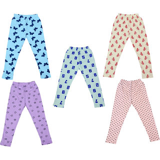 IndiWeaves Girls Super Soft and Stylish Cotton Printed Leggings(Pack of 5)