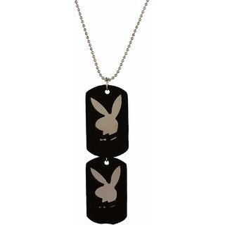 GoldNera Fashion Jewelry 2017 Playboy Design Dog Tag In Silver Ball Chain For Men