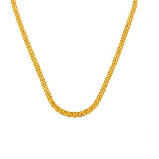 GoldNera Machine Made Unisex 22Kt Gold Plated Flat Chain