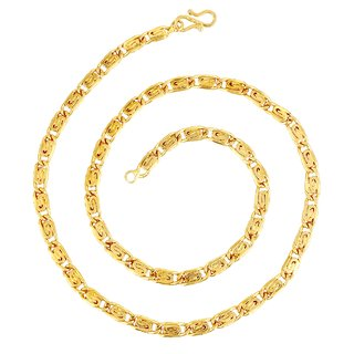 GoldNera Mens 22Kt Gold Plated Heavy 24 Inches Fisher Alloy Chain Looks Real