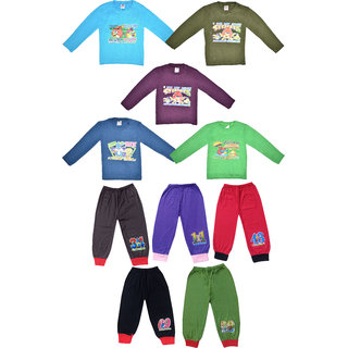 Jisha Boys Tshirts with Hosiery Pants with Rib ( Pack of 10)