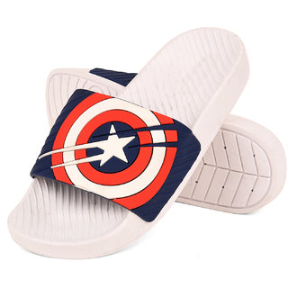 4c1763238 Buy Drunken Men S Captain America Shield Blue Strap Slide Flip Flop Online  - Get 48% Off