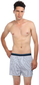Men's Cotton Checked Shorts  Blue Color  Striped Boxer Available in Size M  by Semantic