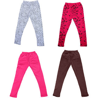 IndiWeaves Girls 2 Cotton Solid Legging and 2 Cotton Printed Legging(Pack of 4)