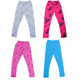 IndiWeaves Girls Super Soft and Stylish Cotton Printed Churidar Legging(Pack of 4)