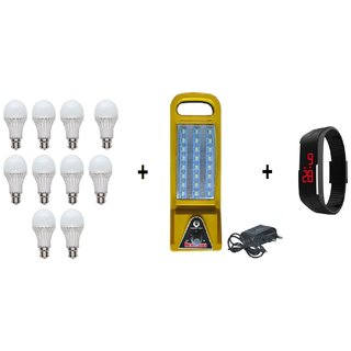 PNP 9watt LED (Pack Of 10) with free DP 24 Rechargeable Emergency Light with charger and 1 Led Smart Watch