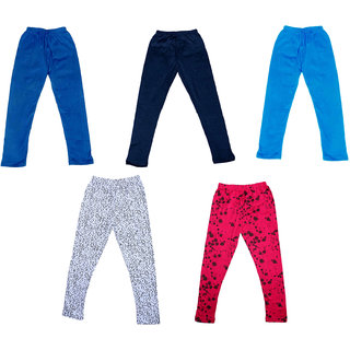 IndiWeaves Girls 3 Cotton Solid Legging and 2 Cotton Printed Legging(Pack of 5)