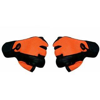 JMO27Deals Netted Wrist Support Gym  Fitness Gloves (Orange)