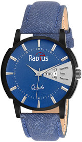 Radius Round Dial Blue Leather Strap Quartz Watch For M