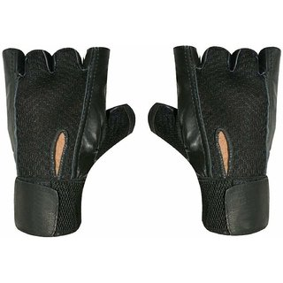 JMO27Deals Netted  Leather Wrist Support Gym  Fitness Gloves (Black)