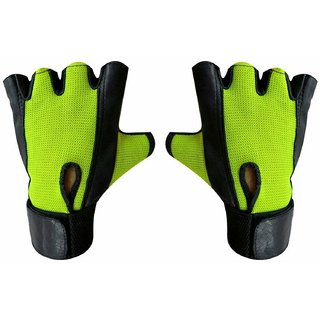 JMO27Deals Netted Wrist Support Gym  Fitness Gloves (Green)