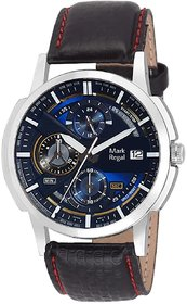 Mark Regal Round Dial Black Leather Strap Analog Watch For Mens