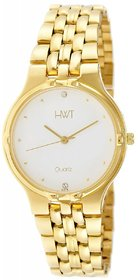 Hwt Gold Plated Round White Dail Watch For Mens