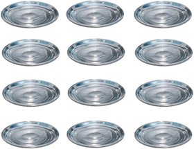 AH    Dinner Plates Set of 12  Stainless Steel  Full Plates (10 inch ) Heavy Quality  - dia 10 inch Set of 12  color- Silver