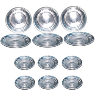 AH    Dinner Plates Set of 12  Stainless Steel  6 Full Plates (10 inch )  6 Quarter Plates (7 inch ) Heavy Quality  - dia 10  7 inch Set of 12  color- Silver