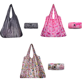 Combo of three colourful reusable folding shopping bags