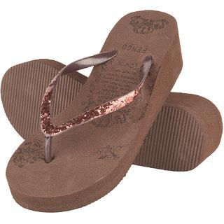 Drunken Women'S Brown Wedge Flip Flops
