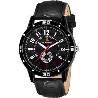 Golden Bell Original Black Dial Black Strap Analog Wrist Watch for Men - GB-1108