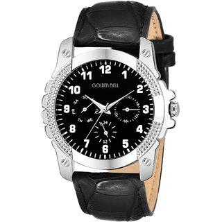 Golden Bell Original Black Dial Black Strap Analog Wrist Watch for Men - GB-1109