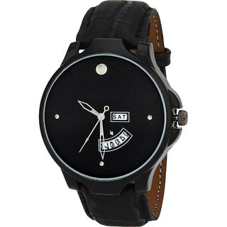 New Professional Black Date Dile Leather Belt Still Dile stylist Looking Analog Watch For Men