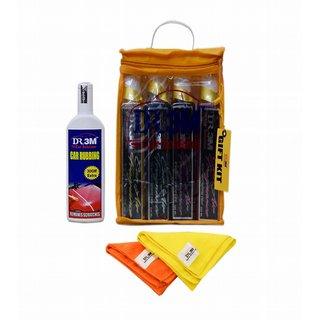 4pc  CAR AIR FRAGNANACE ( FRESH,FLORAL,BREEZE,ROSE) 200mL.+CAR RUBBING 100GM.+ 2 pc CAR MICROFIBER CLOTH ORANGE ,YELLOW.